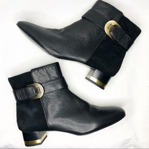JOAN & DAVID Circa Luxe Black Boots with Gold